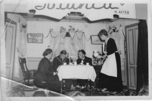 "old picture of a tea party called ""June Vase"""
