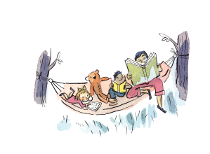 kids reading in a hammock - image from 2018 summer reading club