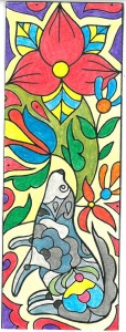 wolf bookmark - created by Levi Greenacres, coloured by Colour Me Calm